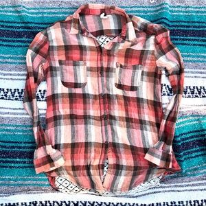 Free People > Flannel Crochet Back Shirt > M